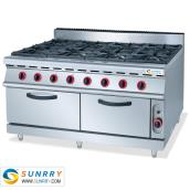 Gas Range With 8-Burner & Electric Oven & Cabinet
