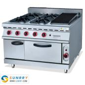 Gas Range With 4-Burner & Lava Rock Grill & Gas Oven